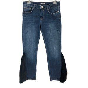 Zara Mid Rise Distressed Faux Fur Inserts Jean 8